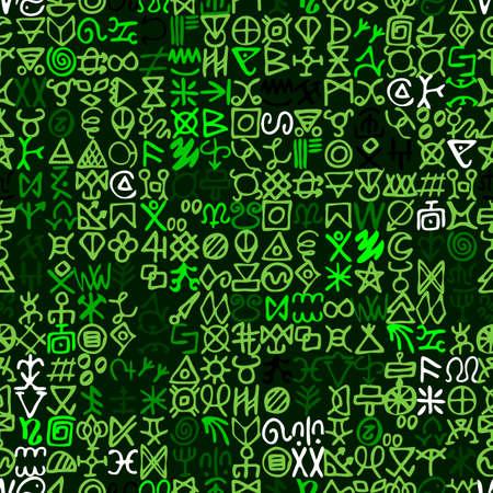 Alternative of digital green matrix and computer code symbols seamless pattern