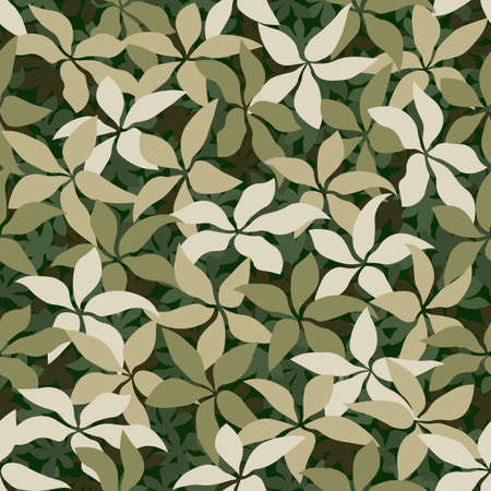 Seamless pattern camouflage texture. The green leaves lying on the ground