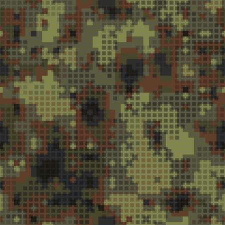 Military camouflage seamless pattern. Urban digital pixel style. Ilustração