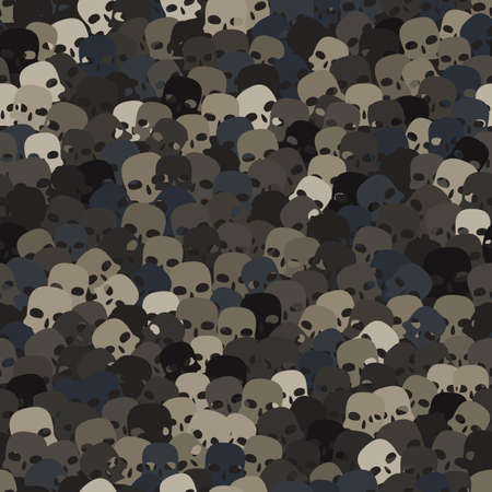 Camouflage gray and brown scull silhouettes seamless pattern background Ilustração