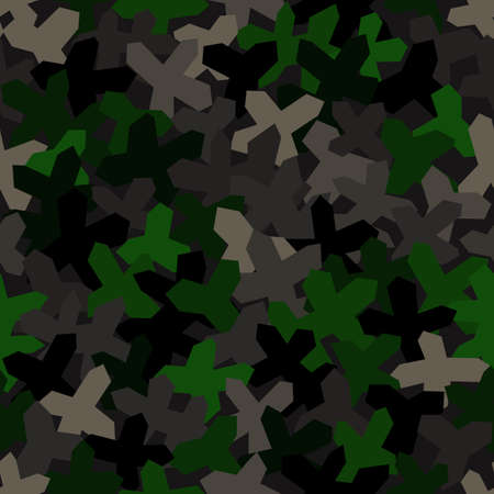 Seamless pattern with geometric camouflage. Military dark green background.