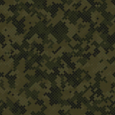 Seamless digital woodland pixel camo texture vector for army textile print Vettoriali