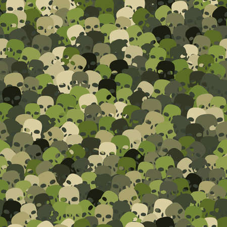 Camouflage woodland green scull silhouettes seamless pattern background