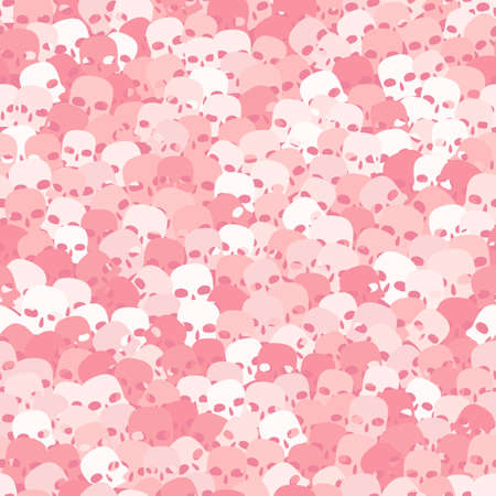 Cool skulls in white and pink halftone colors. Vector illustration of a skull Vettoriali