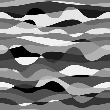Curly waves tracery, grayscale curved lines. Stylized abstract camouflage