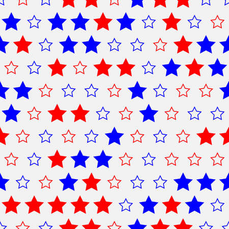 Colored red and blue stars on white seamless pattern background