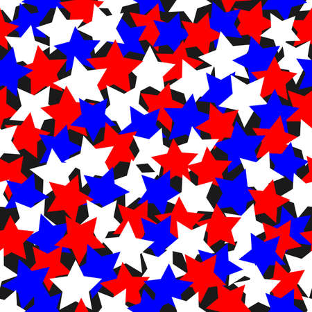 Colored red and blue stars patriotic seamless pattern background
