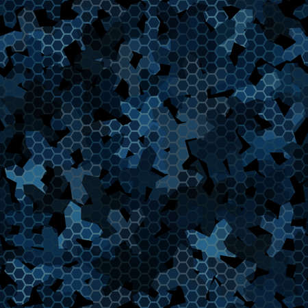 Dark blue night camouflage seamless pattern with hexagonal geometric ornament