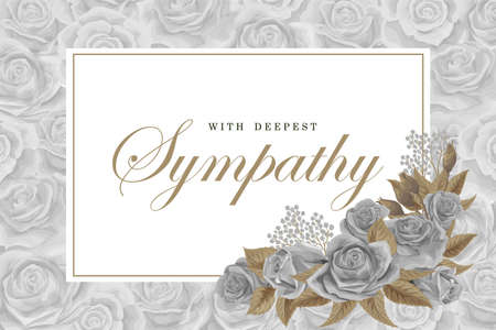 Grayscale rose bouquets with white frame and text on silver rose background