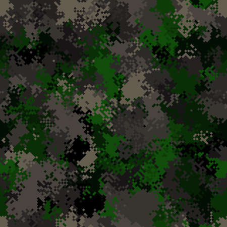 Seamless digital woodland pixel camo texture vector for army textile print Ilustrace