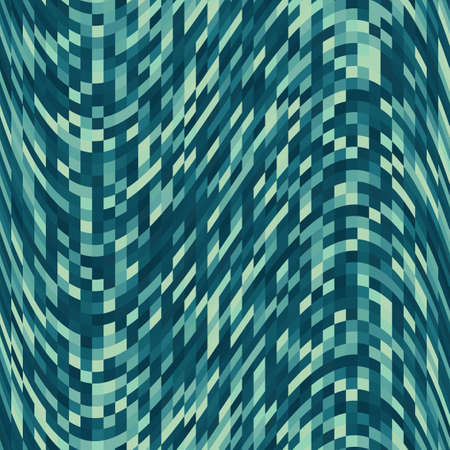 Pixel pattern background of vector marine blue wave seamless square mosaic 向量圖像