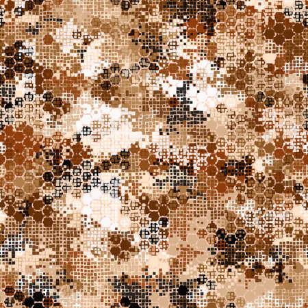 Hexagonal desert camouflage seamless pattern vector stock illustration