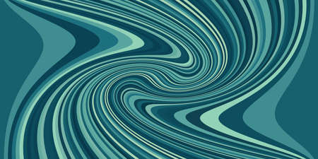 Abstract composition with black and teal curved strips. Psychedelia art