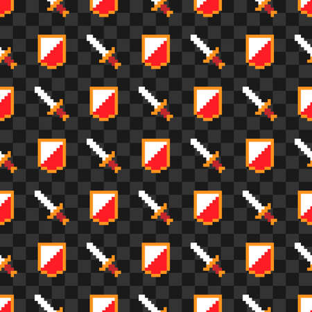Game pixel icons, shield and sword, color vector seamless pattern background