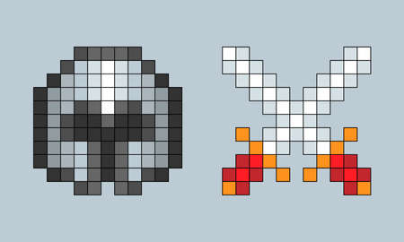 Vector pixel art cartoon crossed swords and helm isolated elements on gray 向量圖像