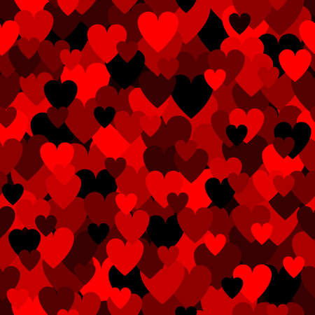 Army red heart pattern. Camouflage Vector texture for Valentines Day
