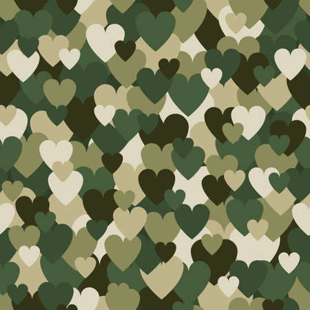 Military Seamless Pattern with Heart Spots. Camouflage Background