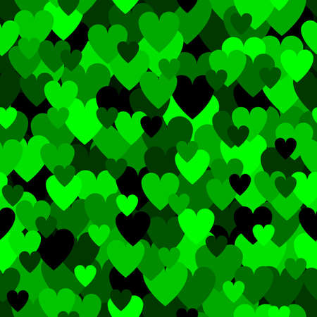 Emerald green heart pattern. Camouflage Vector texture for Valentines Day
