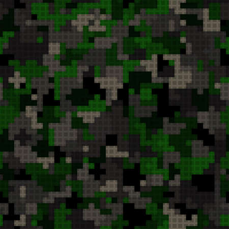 Seamless digital woodland pixel camo texture vector for army textile print 向量圖像