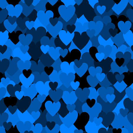 Army blue heart pattern. Camouflage Vector texture for Valentines Day 向量圖像