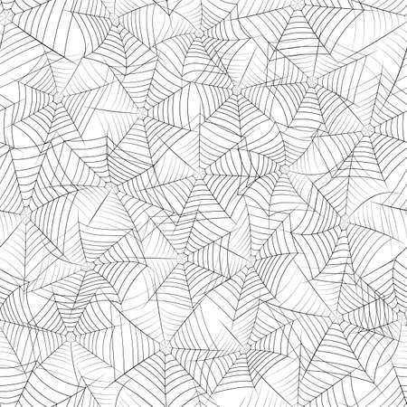 Vector seamless texture with black spider web on a white background.
