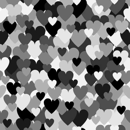 Silver grayscale heart pattern. Camouflage Vector texture for Valentines Day