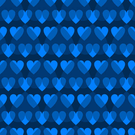 Mosaic blue heart pattern. Decorative Vector texture for Valentines Day