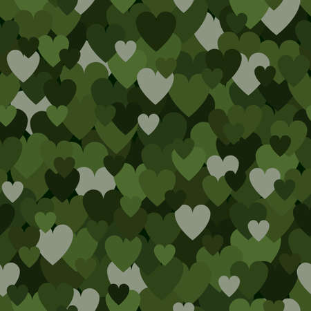 Military Seamless Pattern with Forest Green Heart Spots. Camouflage Background