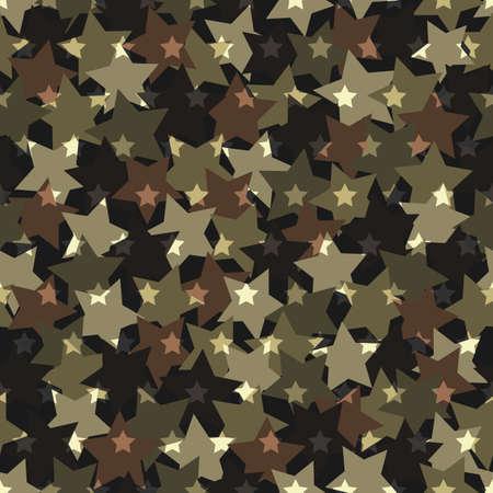 Seamless digital woodland camo vector texture. Stars Camoflage textile print
