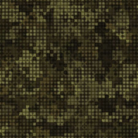 Military camouflage seamless pattern. Autumn forest digital pixel style.