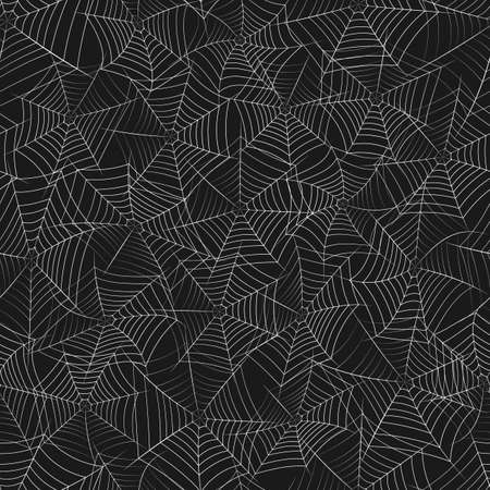 Vector seamless texture with grayscale spider web on a black background.