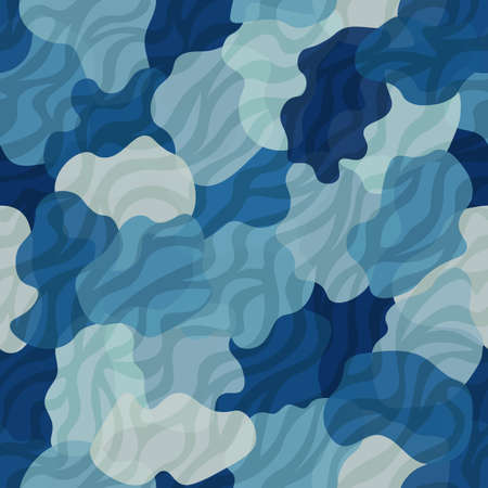 Camouflage pattern background. Zebra clothing style masking camo repeat print. Blue water colors urban, navy or airforce texture. Design element. Vector illustration. 向量圖像