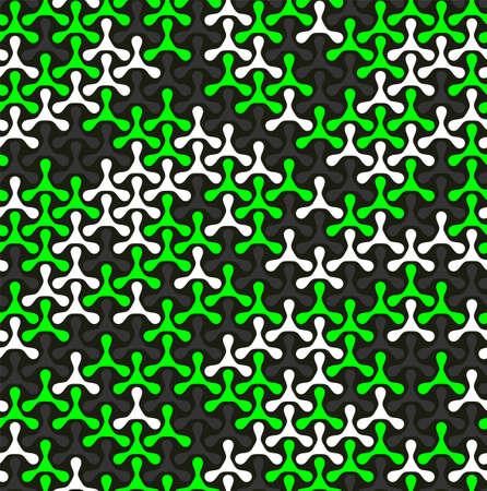 Modern seamless pattern of colored triplex geometric shape on dark