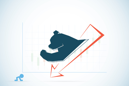 vision loss: bear symbol with red and candlestick chart, stock market and business concept