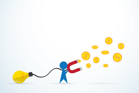 blue man attracts money with a large light bulb and magnet, idea and business concept Ilustração Vetorial
