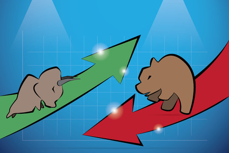 loss leader: bull and bear with financial graph, stock market and business concept Illustration