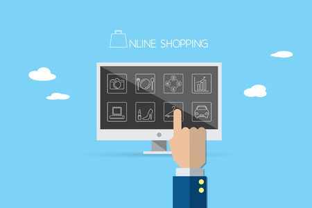 ebuy: business hand point the finger to icons in desktop, online shopping and business concept Illustration