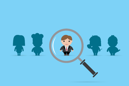 businessman and magnifying glass, human resource and recruitment concept Illustration