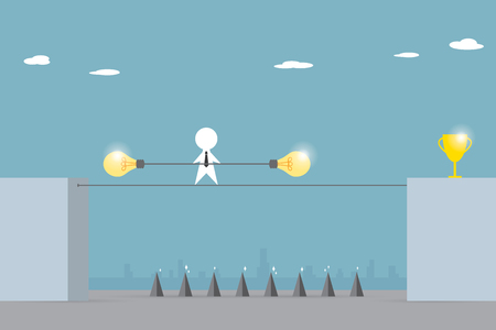 inconstant: businessman balancing on the rope with lightbulb stick to pass the trap to golden trophy