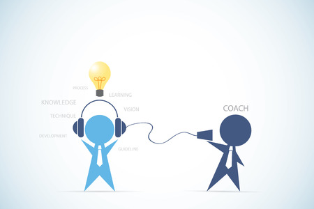 guideline: businessman coaching another businessman to find idea for success, coaching and business concept