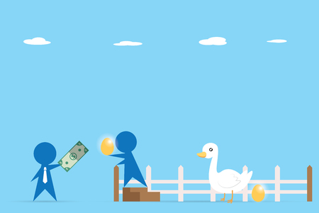 passive income: Businessman trading money and golden egg from goose, business concept