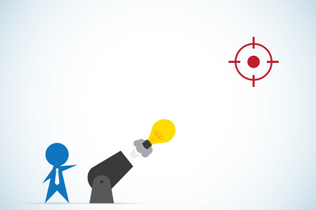 Businessman shoot light bulb from cannon, idea and business concept Illustration