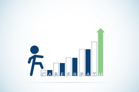 career up: Businessman stepping up a staircase with career path text, career and business concept Illustration