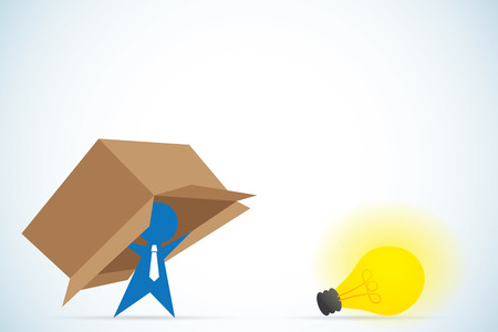 Businessman think outside the box, idea and business concept