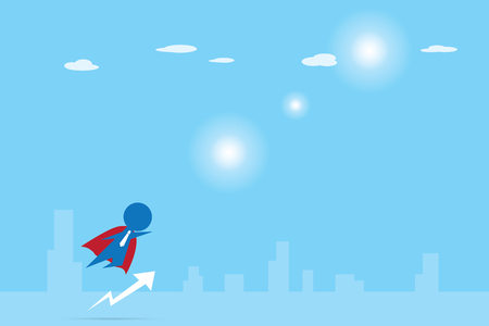 businessman with red cloak flying into the sky, leadership and businessman concept
