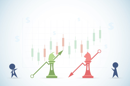 vision loss: businessmen playing bull and bear chess with financial graph and dollar symbols, stock market and business concept