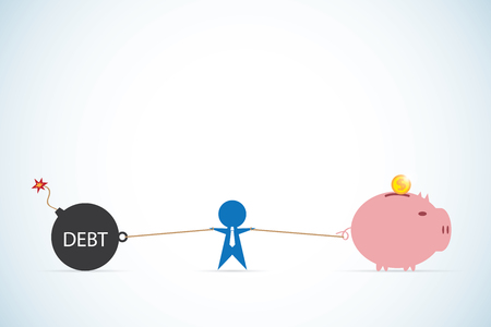 Debt vs saving and businessman, business concept Ilustrace