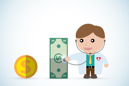 financial adviser: doctor holding stethoscope to check money health, business concept