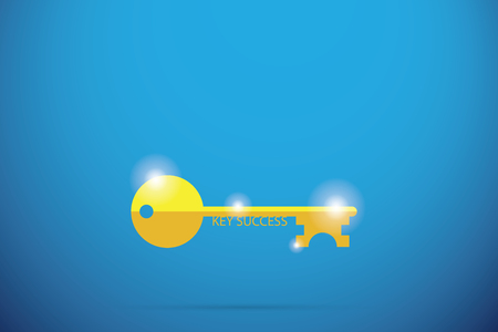 gold key with key success word, success factor and business concept