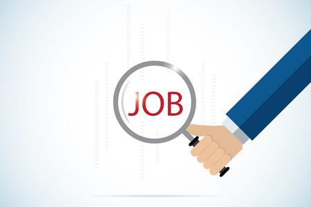 Main, tenue, loupe, sur, texte, job, concept, emploi Banque d'images - 78183893